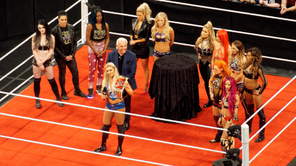 WWE's women wrestlers on the RAW following Charlotte Flair's inaugural victory of the Women's Championship