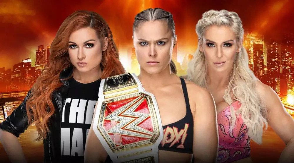 Ronda Rousey, Becky Lynch, and Charlotte Flair - promotional image for WrestleMania 35 main event